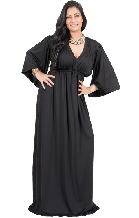 Adelyn & Vivian Plus Size V-Neck Long Kimono Sleeve Formal Maxi Dress - Black / 2X Large