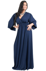 Adelyn & Vivian Plus Size V-Neck Long Kimono Sleeve Formal Maxi Dress - Dark Navy Blue / 2X Large