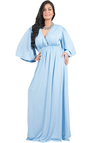 Adelyn & Vivian Plus Size V-Neck Long Kimono Sleeve Formal Maxi Dress - Sky Baby Light Blue / 2X Large
