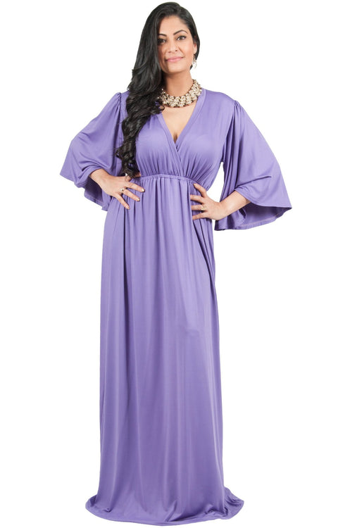 Adelyn & Vivian Plus Size V-Neck Long Kimono Sleeve Formal Maxi Dress - Violet Light Purple / 2X Large