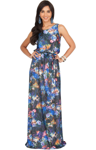 AERIN - Summer Sleeveless Floral Printed Maxi Dress - Blue & Black / Extra Large