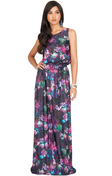 AERIN - Summer Sleeveless Floral Printed Maxi Dress - Pink & Black / Extra Large