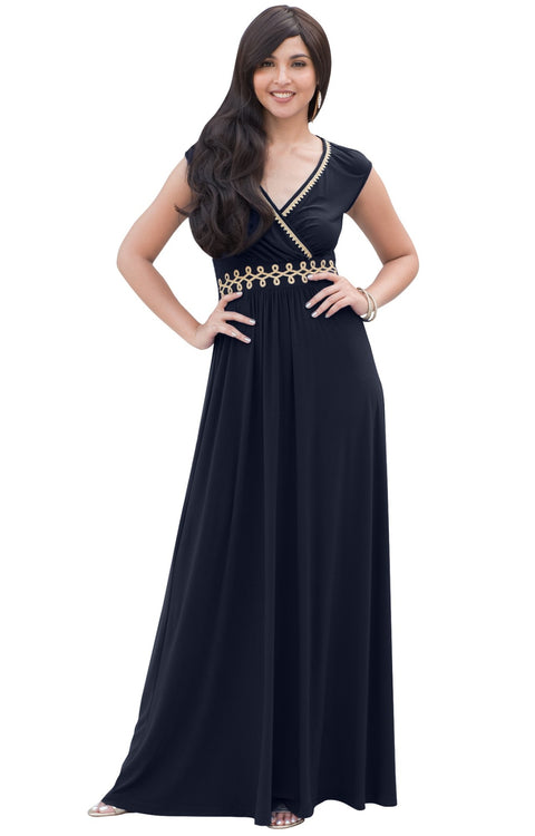 AILEEN - Stylish Cap Sleeve Gold Lace Evening Cocktail Long Maxi Dress - Dresses
