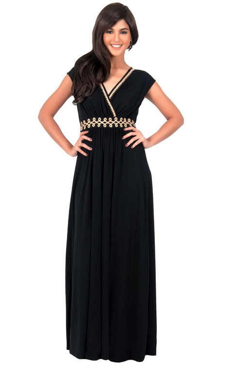 AILEEN - Stylish Cap Sleeve Gold Lace Evening Cocktail Long Maxi Dress - Black / Small - Dresses