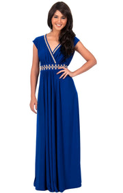 AILEEN - Stylish Cap Sleeve Gold Lace Evening Cocktail Long Maxi Dress - Cobalt Royal Blue / Small - Dresses