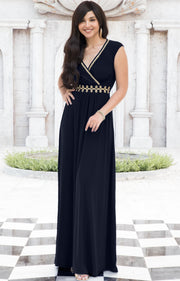 AILEEN - Stylish Cap Sleeve Gold Lace Evening Cocktail Long Maxi Dress - Dark Navy Blue / Small - Dresses