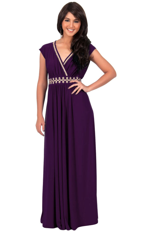 AILEEN - Stylish Cap Sleeve Gold Lace Evening Cocktail Long Maxi Dress - Purple / Small - Dresses