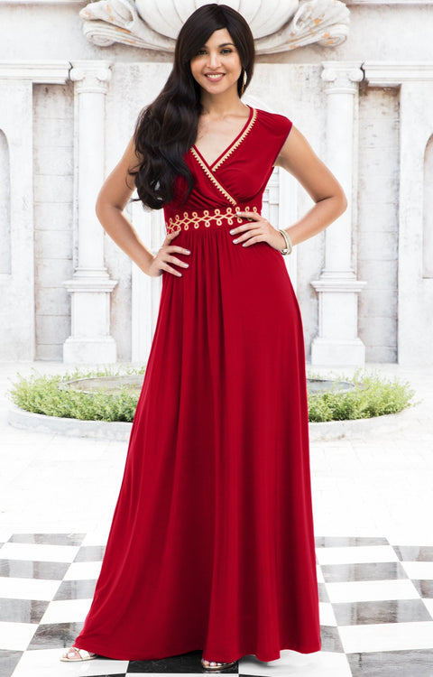AILEEN - Stylish Cap Sleeve Gold Lace Evening Cocktail Long Maxi Dress - Red / Small - Dresses