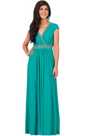 AILEEN - Stylish Cap Sleeve Gold Lace Evening Cocktail Long Maxi Dress - Turquoise / Small - Dresses