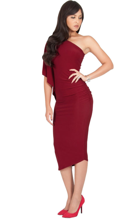 ALLEGRA - Womens One Off the Shoulder Bridesmaid Formal Midi Dress