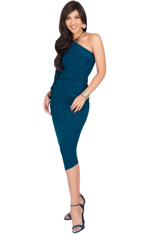 ALLEGRA - Womens One Off the Shoulder Bridesmaid Formal Midi Dress - Blue Teal / 2X Large