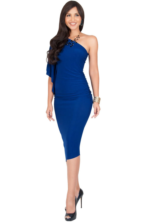 ALLEGRA - Womens One Off the Shoulder Bridesmaid Formal Midi Dress - Cobalt Royal Blue / Small
