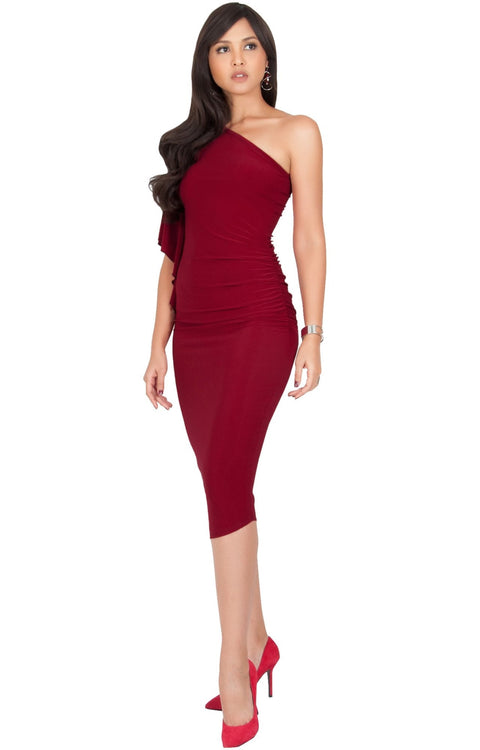 ALLEGRA - Womens One Off the Shoulder Bridesmaid Formal Midi Dress - Crimson Dark Red / 2X Large