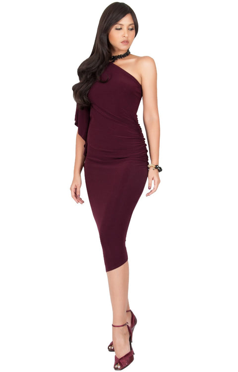 ALLEGRA - Womens One Off the Shoulder Bridesmaid Formal Midi Dress - Maroon Wine Red / 2X Large