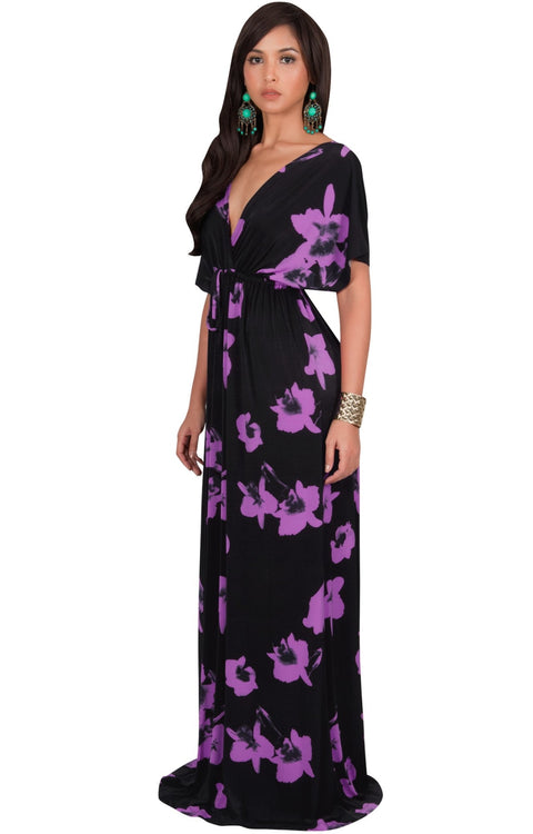 AMARYLLIS - Long Kimono Sleeve V-neck Floral Print Casual Maxi Dress