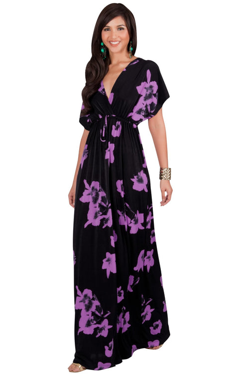 AMARYLLIS - Long Kimono Sleeve V-neck Floral Print Casual Maxi Dress - Black & Purple / 2X Large
