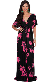 AMARYLLIS - Long Kimono Sleeve V-neck Floral Print Casual Maxi Dress - Hot Fuchsia Pink / 2X Large