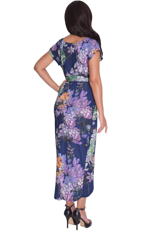 ANGELA - Short Cap Sleeves Floral Print Chic Asymmetrical Midi Dress - Dresses