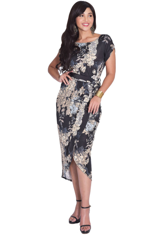 ANGELA - Short Cap Sleeves Floral Print Chic Asymmetrical Midi Dress - Black / Small - Dresses