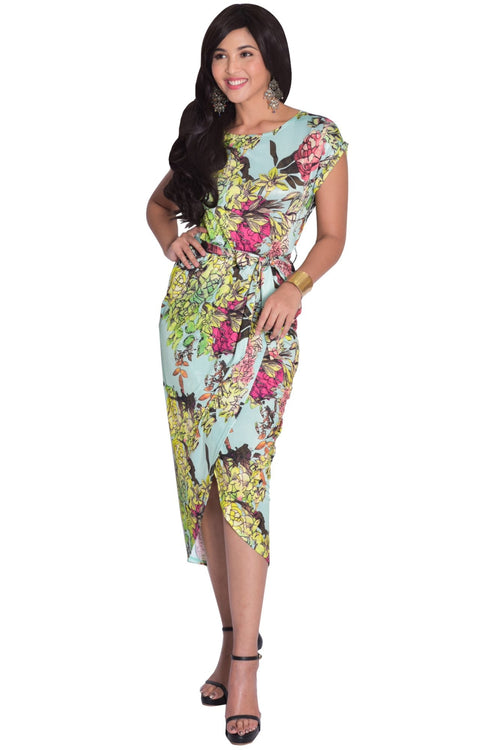 ANGELA - Short Cap Sleeves Floral Print Chic Asymmetrical Midi Dress - Green Yellow & Pink / Small - Dresses