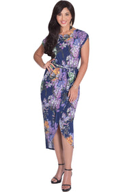 ANGELA - Short Cap Sleeves Floral Print Chic Asymmetrical Midi Dress - Navy Blue / Small - Dresses