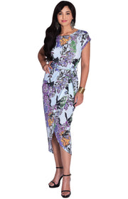 ANGELA - Short Cap Sleeves Floral Print Chic Asymmetrical Midi Dress - Sky Blue & Purple / Small - Dresses