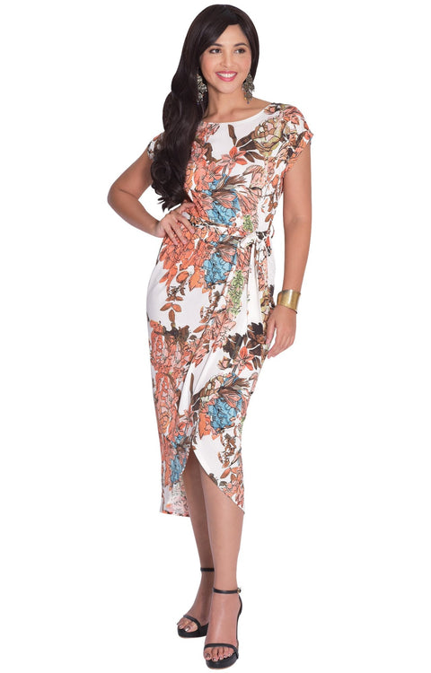ANGELA - Short Cap Sleeves Floral Print Chic Asymmetrical Midi Dress - White / Small - Dresses