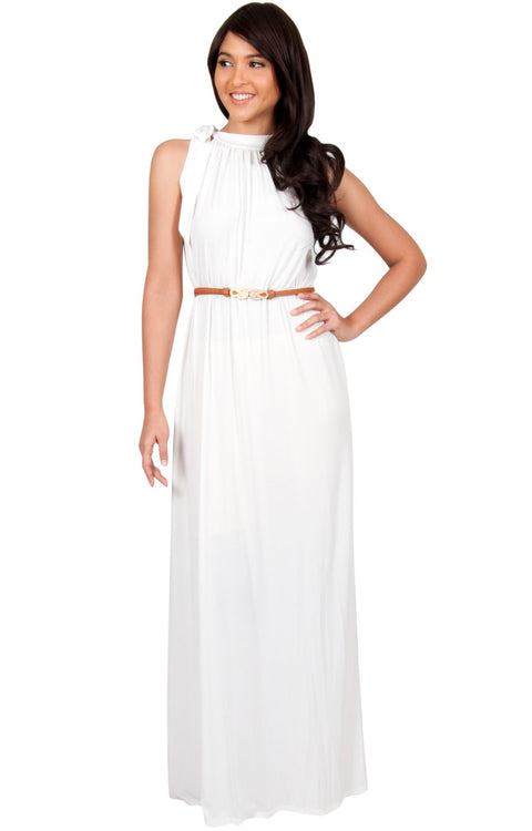 ANGELINA - Sleeveless Tie Neck Cocktail Long Maxi Dress