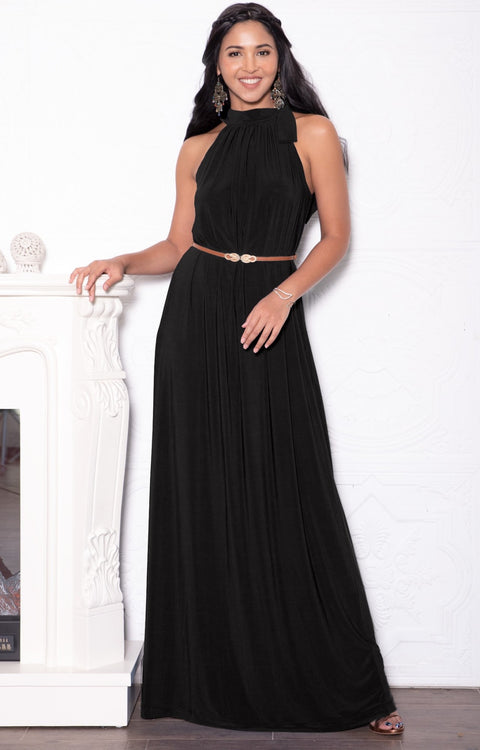 ANGELINA - Sleeveless Tie Neck Cocktail Long Maxi Dress - Black / 2X Large
