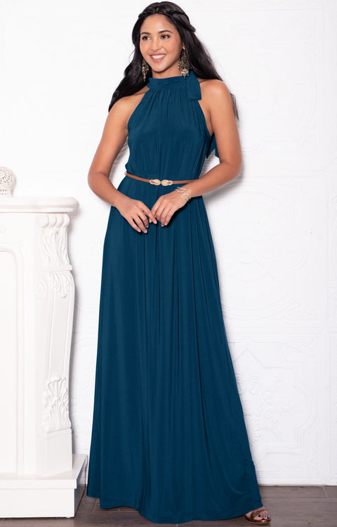 ANGELINA - Sleeveless Tie Neck Cocktail Long Maxi Dress - Blue Teal / 2X Large