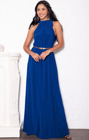 ANGELINA - Sleeveless Tie Neck Cocktail Long Maxi Dress - Cobalt Royal Blue / Small