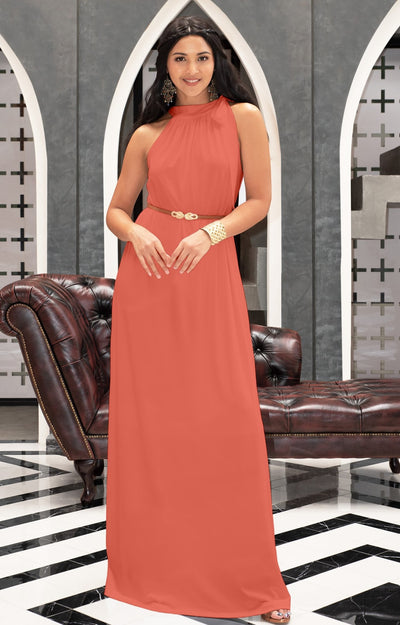 ANGELINA - Sleeveless Tie Neck Cocktail Long Maxi Dress - Coral Pink Peach / Small