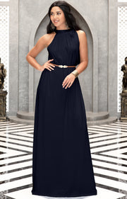 ANGELINA - Sleeveless Tie Neck Cocktail Long Maxi Dress - Dark Navy Blue / 2X Large