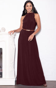 ANGELINA - Sleeveless Tie Neck Cocktail Long Maxi Dress - Maroon Wine Red / 2X Large