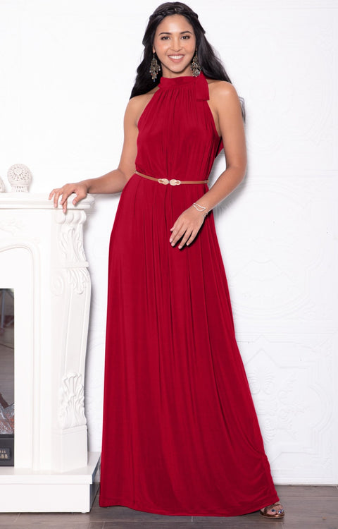 ANGELINA - Sleeveless Tie Neck Cocktail Long Maxi Dress - Red / 2X Large