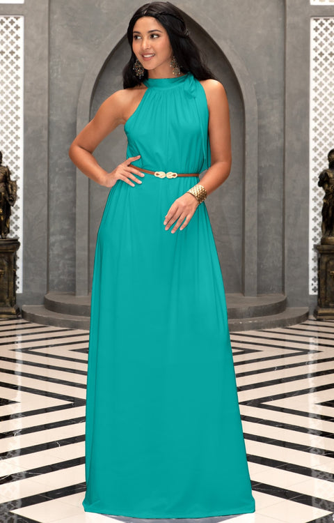 ANGELINA - Sleeveless Tie Neck Cocktail Long Maxi Dress - Turquoise / 2X Large