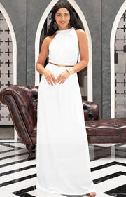 ANGELINA - Sleeveless Tie Neck Cocktail Long Maxi Dress - White / 2X Large