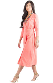ANITA - 3/4 Sleeve Knee Length Wrap Casual Semi Formal Midi Dress