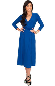 ANITA - 3/4 Sleeve Knee Length Wrap Casual Semi Formal Midi Dress - Cobalt / Royal Blue / Medium