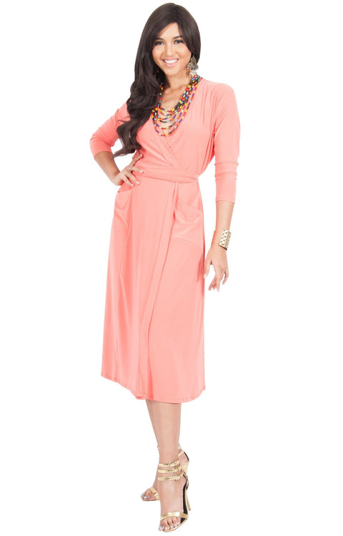 ANITA - 3/4 Sleeve Knee Length Wrap Casual Semi Formal Midi Dress - Coral Pink Peach / Small