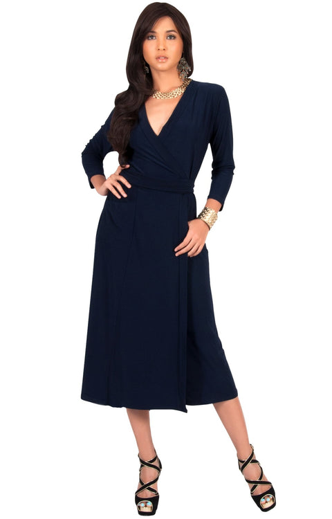 ANITA - 3/4 Sleeve Knee Length Wrap Casual Semi Formal Midi Dress - Dark Navy Blue / Medium