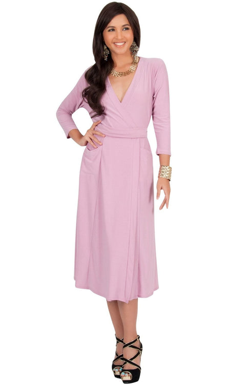 ANITA - 3/4 Sleeve Knee Length Wrap Casual Semi Formal Midi Dress - Dusty Pink / Medium