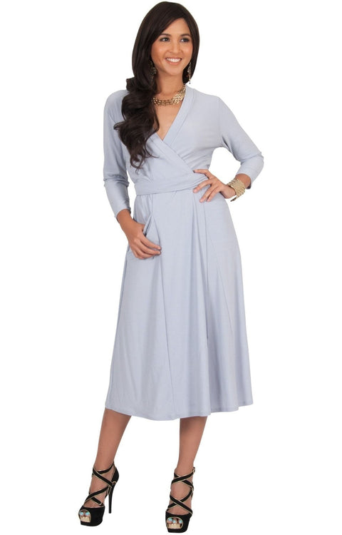 ANITA - 3/4 Sleeve Knee Length Wrap Casual Semi Formal Midi Dress - Gray / Grey / Medium