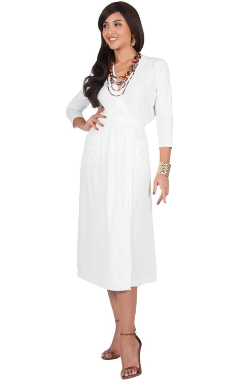 ANITA - 3/4 Sleeve Knee Length Wrap Casual Semi Formal Midi Dress - Ivory White / Medium