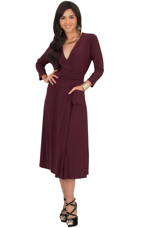 ANITA - 3/4 Sleeve Knee Length Wrap Casual Semi Formal Midi Dress - Maroon Wine Red / Small