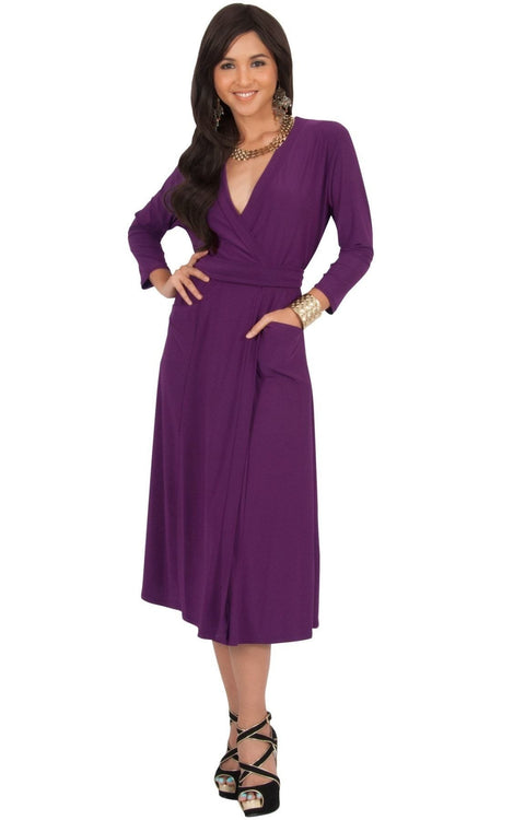 ANITA - 3/4 Sleeve Knee Length Wrap Casual Semi Formal Midi Dress - Purple / Medium