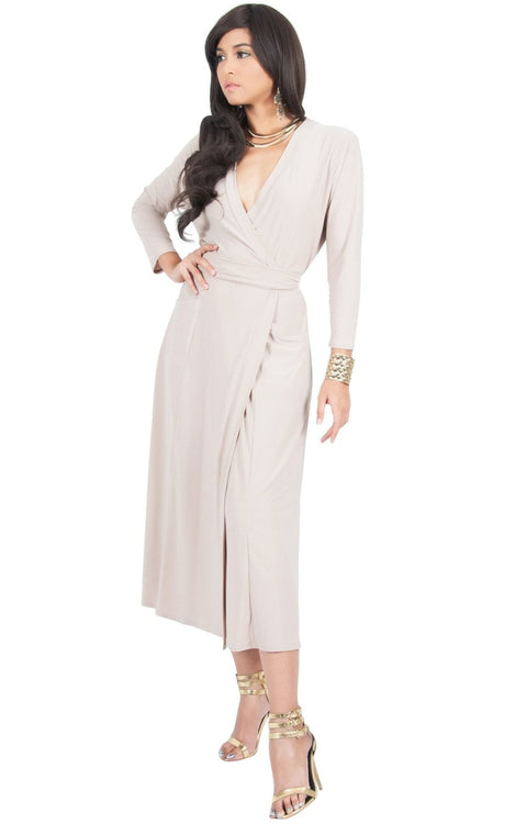 ANITA - 3/4 Sleeve Knee Length Wrap Casual Semi Formal Midi Dress - Tan Light Brown / Medium