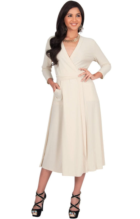 ANITA - 3/4 Sleeve Knee Length Wrap Casual Semi Formal Midi Dress - Yellow / Buttermilk / Medium