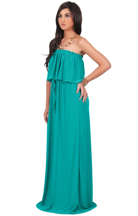 ANIYAH - Strapless Maxi Dress Long Evening Summer Flowy Gown Beach