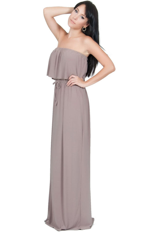ANIYAH - Strapless Maxi Dress Long Evening Summer Flowy Gown Beach - Brown / Latte / 2X Large